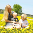 Mother and children sitting in Meadow Laughing — Stock Photo