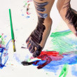 Painted Kid's Feet on Art Project — Stock Photo #31657359