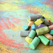 pile of sidewalk chalk — Stock Photo
