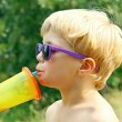 Child Drinking on Hot Summer Day — Stock Photo