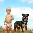 Little Boy and His Dog — Stock Photo