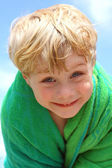 Happy Boy in Beach Towel — Stock Photo
