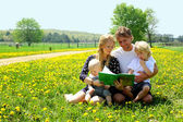 Happy Family Reading Book Outside in Meadow — Stok fotoğraf