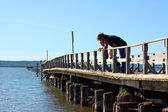 Father and Children on Pier — Stock Photo