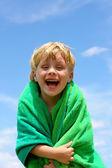 Happy Boy in Beach Towel — Stock Photo