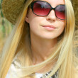 Woman Outside in Hat an Sunglasses — Stok fotoğraf