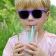 Stock Photo: Child Drinking Chocolate Milk