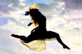 Woman Leaping through the Air — Stock Photo