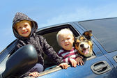 Children and Dog Leaning Out Minivan Window — Stock Photo