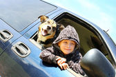 Little Boy and His Dog Hanging Out Minivan Window — Stock Photo