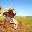 Little Boys Out in the Country on a Hay Bale — Stock Photo