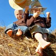 Little Boys in Straw Hats Sitting on Hay Bales — Stock Photo #32487657