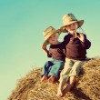 Little Country Boys on Farm — Stock Photo