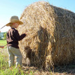 Young Children Playing on Farm with Hay Bale — Stock Photo