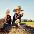 Two Children Sitting on Hay Bale in Autumn — Stock Photo #32490567