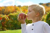Child Kissing Apple on Autumn Day — Stock Photo
