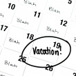 The Word Vacation is Written and Circled on a Calendar — Stock Photo #34385521