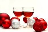 Red Wine and Christmas Decorations — Stock Photo