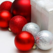 Christmas Gift Box and Bulb Ornaments — Stock Photo