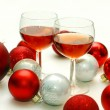Two Wine Glasses Surrounded by Christmas Decorations — Stock Photo