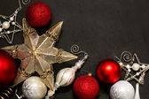 Christmas Ornament Frame on Chalk Board — Stock Photo