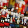 Christmas Nutcracker King in Front of Toy Soldiers — Stock Photo