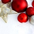 Christmas Decorations Framing Snow Background — Stock Photo #37012865
