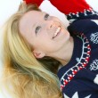 Stock Photo: WomLaying in Winter Snow