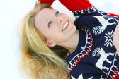 Woman Laying in Winter Snow — Stock Photo