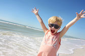 Super Happy Little Boy on Beach — Stock Photo