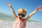 Super Happy Boy on Beach by Ocean — Stock Photo