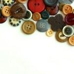 Vintage Button Collection Bordering White Background — Stock Photo
