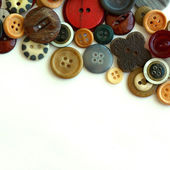 Vintage Button Collection Bordering White Background — Zdjęcie stockowe