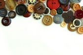 Vintage Button Collection Bordering White Background — Stock Photo