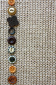 Row of Vintage Buttons Lined up on Soft Fabric Background — Stock Photo