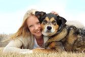Smiling Woman Hugging German Shepherd Dog — Stock Photo