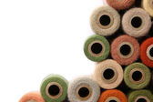 Antique Yarn Spool Collection Frame White Background — Foto Stock