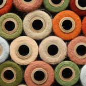 Abstract Background Collection of Antique Yarn Spools — Stok fotoğraf