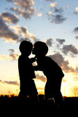 Big Brother Kissing Baby Silhouette at Sunset — 图库照片