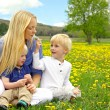 Mother and Children Sitting Outside in Dandelion Flower Meadow — Stock Photo #46478999