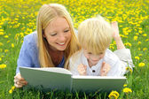 Happy Mother and Child Reading Book Outside in Meadow — Stock Photo