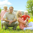 Happy Familly of Four People Relaxing in Flower Meadow — Stock Photo #47169911