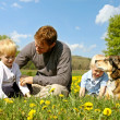 Father, Children, and Dog Relaxing in Flower Meadow — Stock Photo