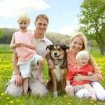 Happy Family Portrait in Flower Meadow — Stock Photo #47169995