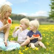 Mother and Young Children Eating Fruit in Flower Meadow — Stock Photo #47474153
