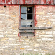 Barn Swallow Flying Out Abandoned Old Farm Window — Stock Photo #50907599