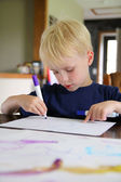 Pre-School Aged Child Drawing with Markers at Home — Stock Photo
