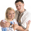 Ukrainian couple on white background — Stock Photo