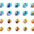 Colorful icons with users face — Stock Photo