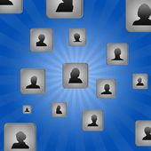 Kostki i użytkownika ikony — Zdjęcie stockowe